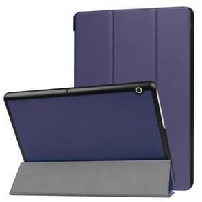 Voor Huawei MediaPad T3 10 Custer textuur horizontale Flip lederen draagtas met drie-vouwen houder (donkerblauw)