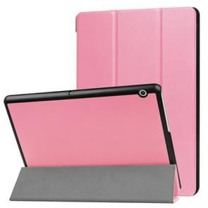 Voor Huawei MediaPad T3 10 Custer textuur horizontale Flip lederen draagtas met drie-vouwen Holder(Pink)
