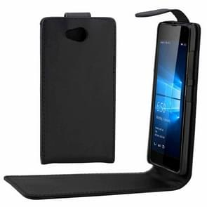 Voor Microsoft Lumia 650 gewoon textuur verticale Flip Case taille leerzak met magnetische Buckle(Black)