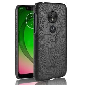 Schokbestendige krokodil textuur PC + PU geval voor Motorola Moto G7 spelen (zwart)