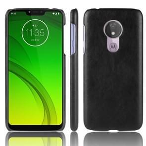 Schokbestendige Litchi textuur PC + PU Case voor Motorola Moto G7 Power (zwart)