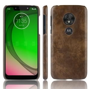 Shockproof Litchi Texture PC + PU Case for Motorola Moto G7 Play (Brown)