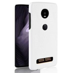 Schokbestendige krokodil achtergrondpatroon PC + PU Case van Motorola Moto Z4 Play (wit)