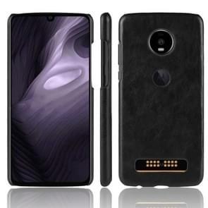 Schokbestendige Litchi textuur PC + PU Case voor Motorola Moto Z4 spelen (zwart)