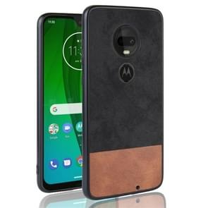Shockproof Color Matching Denim PC + PU + TPU Protective Case for Motorola Moto G7 (Black)