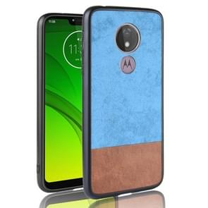 Schokbestendige kleur bijpassende denim PC + PU + TPU Case voor Motorola Moto G7 spelen (EU-versie) (blauw)
