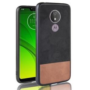 Schokbestendige kleur bijpassende denim PC + PU + TPU Case voor Motorola Moto G7 Power (EU-versie) (zwart)