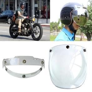 Soman Motorcycle Bubble Visor Open Face Helmet Visor Helmet Windshield Shield with Transparent Frame(Transparent)