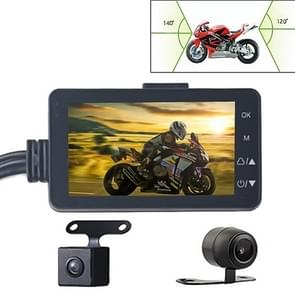 MT-80 3.0 inch 140 Degrees Wide Angle HD Video Motorcycle Dual  Camera DVR, Support TF Card (32GB Max)