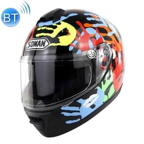 Outdoor Motorcycle Electric Car Riding HD Bluetooth Helmet, Size: M, 57-58cm (Palm Flower)