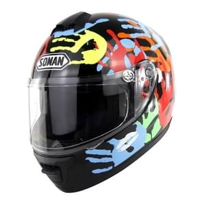 Outdoor Motorcycle Electric Car Riding Helmet, Size: M, 57-58cm (Palm Flower)