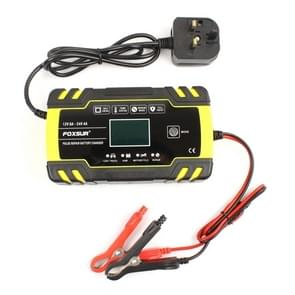 FOXSUR 12V-24V Car Motorcycle Truck Repair Battery Charger AGM Charger Charger, UK Plug