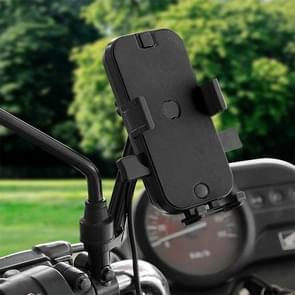 CS-344C2 Motorcycle Chargeable Automatic Lock Mobile Phone Holder, Mirror Holder Version (Black)