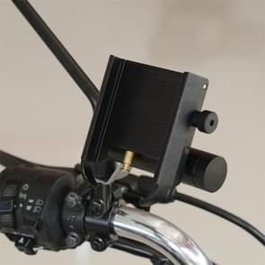 CS-868B1 Motorcycle Aluminum Alloy Mobile Phone Holder with Power Bank, Mirror Holder Version (Black)