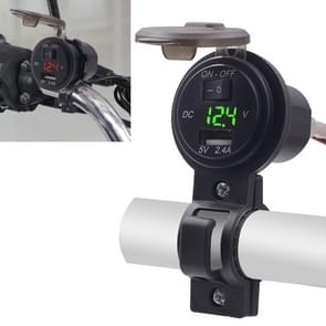 CS-587 12V 2.4A Motorcycle Waterproof Digital Display Voltage Mobile Phone USB Charger Holder(Green)