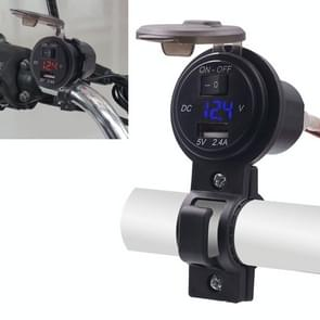 CS-587 12V 2.4A Motorcycle Waterproof Digital Display Voltage Mobile Phone USB Charger Holder(Blue)