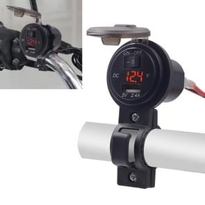CS-587 12V 2.4A Motorcycle Waterproof Digital Display Voltage Mobile Phone USB Charger Holder(Red)