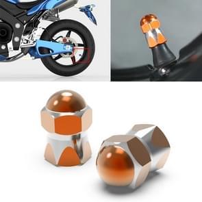 2 PCS Motorfietsen Gas Cap Mondstuk Cover Tire Cap Tire Valve Caps (Oranje)