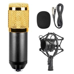 BM-800 3.5mm Studio Recording Wired Condenser Sound Microphone with Shock Mount, Compatible with PC / Mac for Live Broadcast Show, KTV, etc.(Black)