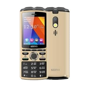 SERVO R25 Mobile Phone, 5500mAh Battery, 2.8 inch, 21 Keys, Support Bluetooth, FM, Flashlight, MP3 / MP4, GSM, Dual SIM, with Wireless Earphone Headset, Russian Keyboard (Gold)