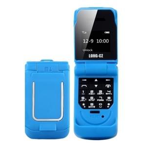 LONG-CZ J9 mini Flip stijl mobiele telefoon  0 66 inch  18 toetsen  ondersteuning Bluetooth  FM  SOS  anti-Lost  Magic Sound  auto beantwoording  GSM  enkele SIM (blauw)