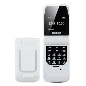 LONG-CZ J9 mini Flip stijl mobiele telefoon  0 66 inch  18 toetsen  ondersteuning Bluetooth  FM  SOS  anti-Lost  Magic Sound  auto beantwoording  GSM  enkele SIM (wit)