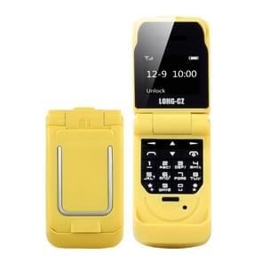 LONG-CZ J9 mini Flip stijl mobiele telefoon  0 66 inch  18 toetsen  ondersteuning Bluetooth  FM  SOS  anti-Lost  Magic Sound  auto beantwoording  GSM  enkele SIM (geel)