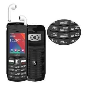SERVO R26 TWS Bluetooth Mobile Phone, Russian Keyboard, 3000mAh Battery, 2.4 inch, 23 Keys, Support Bluetooth, FM, Flashlight, MP3 / MP4, GSM, Dual SIM, with TWS Bluetooth Headsets(Black)