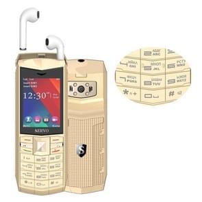 SERVO R26 TWS Bluetooth Mobile Phone, Russian Keyboard, 3000mAh Battery, 2.4 inch, 23 Keys, Support Bluetooth, FM, Flashlight, MP3 / MP4, GSM, Dual SIM, with TWS Bluetooth Headsets(Gold)