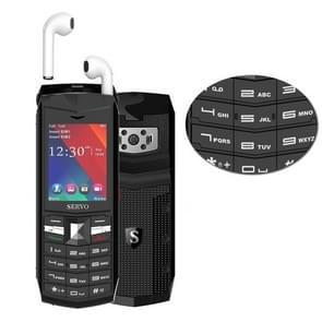 SERVO R26 TWS Bluetooth Mobile Phone, English Keyboard, 3000mAh Battery, 2.4 inch, 23 Keys, Support Bluetooth, FM, Flashlight, MP3 / MP4, GSM, Dual SIM, with TWS Bluetooth Headsets(Black)