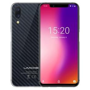 Een UMIDIGI, 4 GB + 32 GB, globaal Band Dual 4 G, Dual back camera, gezicht ID & kant fingerprint identificatie, 5.9 inch Android 8.1 MTK Helio P23 Octa Core maximaal 2.0 GHz, netwerk: 4 G, VoLTE, NFC, Dual SIM (Carbon Fiber zwart)