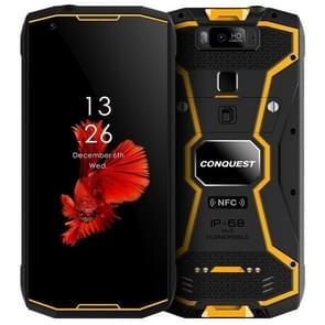 Conquest S12 Pro ruige telefoon, 4GB + 64GB, 8000mAh batterij, IP68 waterdicht stofdicht schokbestendig, Face ID & vingerafdruk identificatie, 5,99 inch Android 9,0 Helio P70 OCTA core tot 2.5 GHz, netwerk: 4G, NFC, OTG (geel)