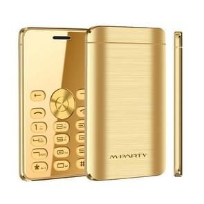 MPARTY C555B Card Mobile Phone, 1.3 inch, MTK6261DA, 21 Keys, Support Bluetooth, Anti-lost, FM, GSM, Dual SIM (Gold)