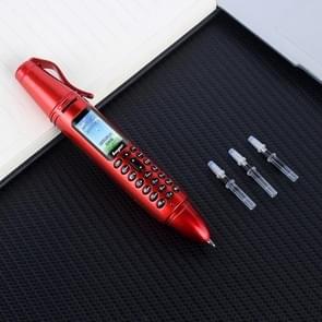 AK007 mobiele telefoon  multifunctionele externe ruisonderdrukking terug-clip opname pen met 0 96 inch kleurenscherm  Dual SIM Dual standby  ondersteuning Bluetooth  GSM  LED-licht  handschrift (rood)