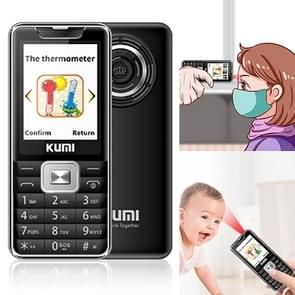 KUMI Mi1 Mini mobiele telefoon  voorhoofd thermometer  2 4 inch  MTK6261D  Bluetooth  21 toetsen  Dual SIM  SOS  FM  Netwerk: 2G  Lichaamstemperatuur meting (Zwart)