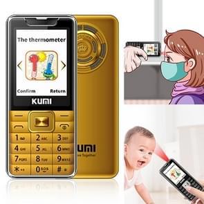 KUMI Mi1 Mini mobiele telefoon  voorhoofd thermometer  2 4 inch  MTK6261D  Bluetooth  21 toetsen  Dual SIM  SOS  FM  Netwerk: 2G  Lichaamstemperatuur meting (Goud)