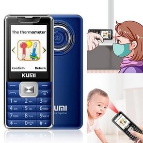 KUMI Mi1 Mini mobiele telefoon  voorhoofd thermometer  2 4 inch  MTK6261D  Bluetooth  21 toetsen  Dual SIM  SOS  FM  Netwerk: 2G  Lichaamstemperatuur meting (Blauw)