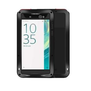 LOVE MEI for Sony Xperia XA Ultra Professional and Powerful Dustproof Shockproof Anti-slip Metal + Silicone Combination Case(Black)
