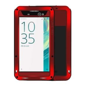 LOVE MEI for Sony Xperia XA Ultra Professional and Powerful Dustproof Shockproof Anti-slip Metal + Silicone Combination Case(Red)