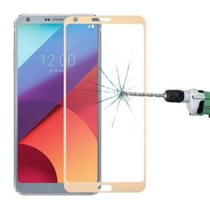 For LG G6 0.3mm 9H Surface Hardness 2.5D Curved Silk-screen Full Screen Tempered Glass Screen Protector(Gold)
