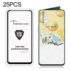 25 PCS MIETUBL Full Screen Full Glue Anti-fingerprint Tempered Glass Film for OPPO Reno 10x Zoom (Black)