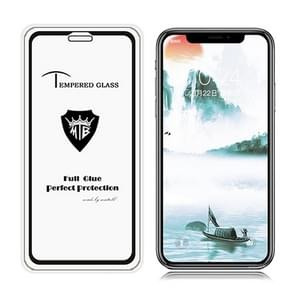 Full Screen Full Glue Anti-fingerprint Tempered Glass Film for iPhone XR (Black)