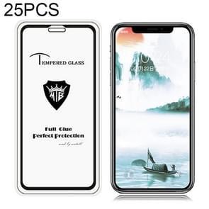 25 PCS Full Screen Full Glue Anti-fingerprint Tempered Glass Film for iPhone XR (Black)