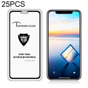 25 PCS Full Screen Full Glue Anti-fingerprint Tempered Glass Film for iPhone XS Max (Black)