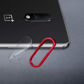 Scratchproof Mobile Phone Metal Rear Camera Lens Ring + Rear Camera Lens Protective Film Set for OnePlus 7 (Black)