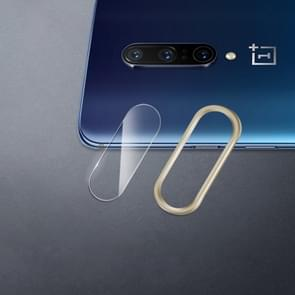 Scratchproof Mobile Phone Metal Rear Camera Lens Ring + Rear Camera Lens Protective Film Set for OnePlus 7 Pro (Gold)
