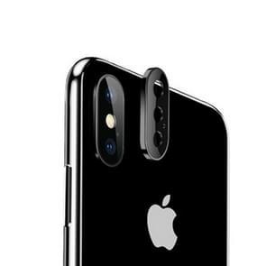 Titanium legering metalen camera lens beschermer gehard glas film voor iPhone XS Max (zwart)