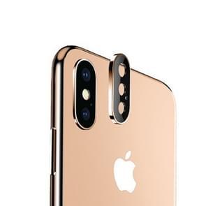 Titanium legering metalen camera lens beschermer gehard glas film voor iPhone XS Max (goud)