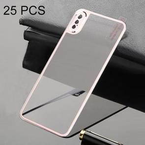 25 PCS Titanium Alloy Metal Edge Volledige dekking Terug Gehard glas screenprotector voor iPhone XS Max (Rose Gold)