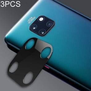 3 PCS 10D Full Coverage Mobile Phone Metal Rear Camera Lens Protection Ring Cover for Huawei Mate 20(Black)